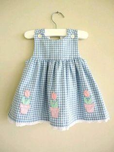 Vintage Dress Blue Gingham Pink Flower D - Diy Crafts Little Dresses, Little Girl Dresses, Girls Dresses, Toddler Dress, Toddler Outfits, Kids Outfits, Baby Dress Patterns, Kids Patterns, Vestidos Vintage