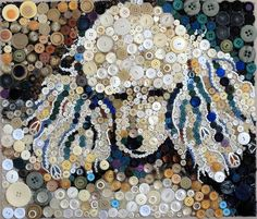Missy, painted with buttons by her Mom, Sally T. #Poodle