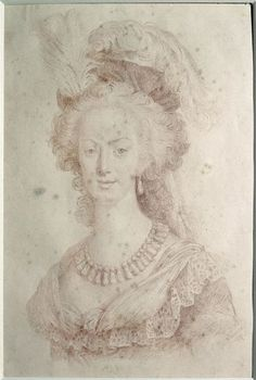 Marie Antoinette, by Eugenie Tripier Le Franc, after Mme. Vigee Le Brun. (Mme. Tripier Le Franc, nee Le Brun, was Mme. Vigee Le Brun's niece by marriage.)  Versailles, chateaux de Versailles et de Trianon.