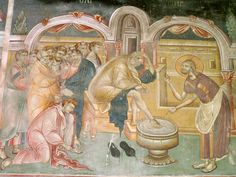 Frescoes Old Nagorichno centuries. Part III Church Icon, Life Of Christ, Holy Week, 14th Century, Macedonia, Byzantine, Fresco, Christian, Painting
