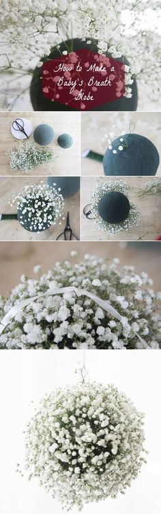diy baby's breath wedding floral ball tutorials