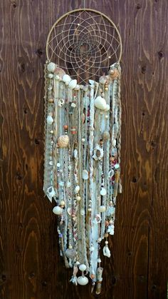 Large Bohemian Dreamcatcher with Ocean Shells Large Bohemian Dreamcatcher with . - Large Bohemian Dreamcatcher with Ocean Shells Large Bohemian Dreamcatcher with Ocean Shells by Han - Doily Dream Catchers, Dream Catcher Art, Seashell Crafts, Beach Crafts, Feather Crafts, Diy Tumblr, Shell Art, Vintage Costume Jewelry, Doilies