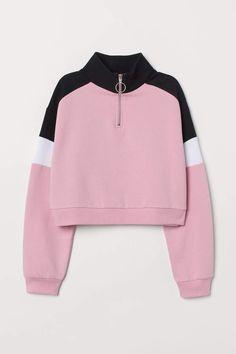Aesthetic Patterns Discover Stand-up Collar Sweatshirt - Light pink/color-block - Ladies Trendy Hoodies, Cute Sweatshirts, Girls Fashion Clothes, Teen Fashion Outfits, Pink Outfits, Dress Outfits, Dresses, Collared Sweatshirt, Zip Hoodie