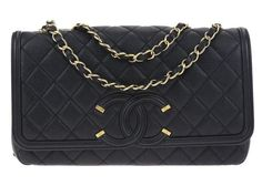 278e38c61fe8 Chanel Black Caviar Leather CC Filigree Medium Flap Bag Medium Bags