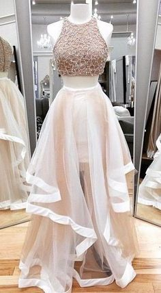 prom dresses 2017, 2 pieces party dresses, champagne evening gowns, chic prom party gowns