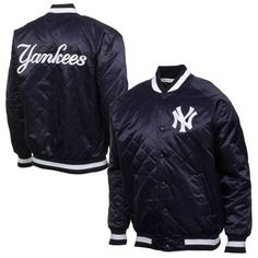 New York Yankees Fair Catch Quilted Button-Up Jacket - Navy Blue
