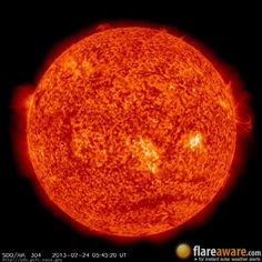 The hourly sun (at 05:45 am  UTC on 24 February 2013)