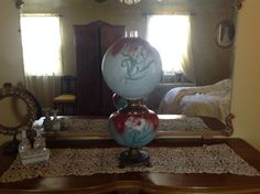 Antique Large Victorian Gone With The Wind Oil Lamp Hand painted Electrified #Victorian #Success