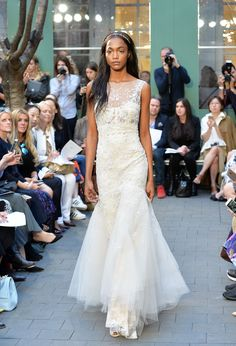 NEW YORK, NY - APRIL 15: A model walks the runway at Monique Lhuillier Bridal Spring/Summer 2017 Runway Show at Laduree Soho on April 15, 2016 in New York City. (Photo by Slaven Vlasic/Getty Images)