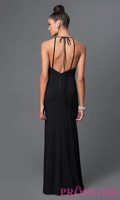 Image of floor-length open-back prom dress with back bow Style: LP-23711 Back Image