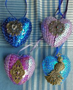 My polystyrene & sequin Christmas baubles /ornaments