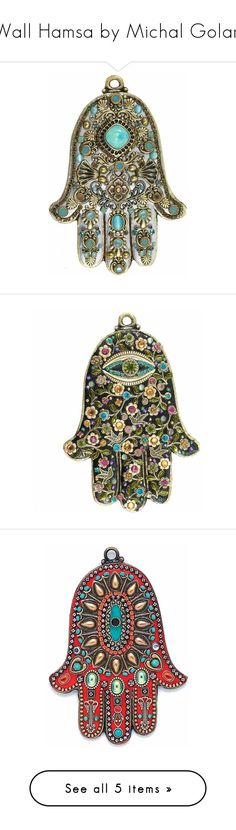 """""""Wall Hamsa by Michal Golan"""" by michalgolan ❤ liked on Polyvore featuring sthash, jewelry, brooches, hand of god jewelry, glass bead jewelry, hamsa hand jewelry, swarovski crystal brooch, swarovski crystals jewelry, decor and multi color jewelry"""