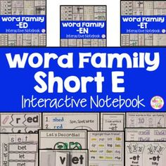 This is a Word Family Interactive Notebook to help students practice and learn CVC words and word families. There are 22 different activities for each Short E word family to help your students master the word family. You may choose which activities are best for your students. The activities include: - Sort by word family - Word Family Word Search - ABC Order - Roll, Write, Graph - Spin, Write, Graph - Real & Not Real Pockets - Building Words - Highlight then Trace - Color the Pictures - Deco