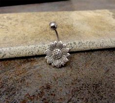Silver Sunflower Belly Button Ring, Naval Piercing Jewelry 14G 316L Surgical Steel hypoallergenic