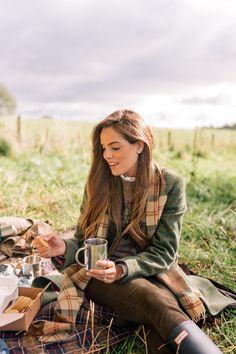 Gal Meets Glam Our Scotland Adventure Part 1 - Coat, Mulberry sweater, Frame shirt, Current Elliott pants & Hunter boots.