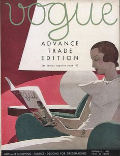 books0977: Vogue Cover, September 1932. André Édouard Marty or A. É. Marty (French, Art Deco, 1882-1974).