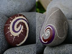 #painted rocks, koru hand painted rocks
