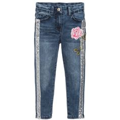 a44f2fbb5e7 brand Girls Denim Embroidered Jeans at Childrensalon.com Παιδική Μόδα,  Παντελόνια
