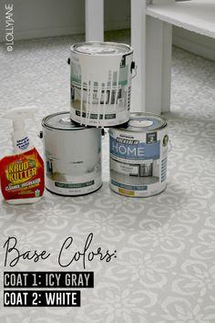 how to paint stencil floors on ANY floor type: linoleum, ceramic tile, porclain tile, vinyl, hardwood floors and more! Painted Bathroom Floors, Painting Tile Floors, Painted Floors, Bathroom Flooring, Kitchen Flooring, Painted Wood, Paint Linoleum, Linoleum Flooring, Basement Flooring