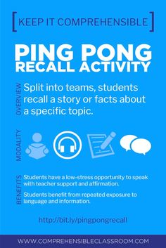 Ping Pong Recall is an easy, no-prep game invented by Cynthia Hitz that provides students with repeated exposure to a story or information about at topic. Classroom Games, Classroom Language, Language Classes, Foreign Language, Spanish Lessons, Learning Spanish, Frog Facts, Converse, Spelling Bee