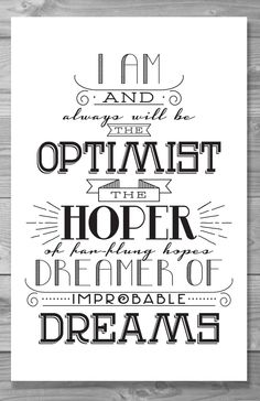 Doctor Who Optimist Typography Quote Poster by Shaileyann on Etsy