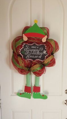 Christmas elf wreath made by Audrey Rose