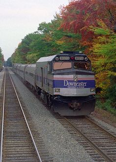 A southbound Downeaster passenger train at Ocean Park, Maine, as viewed from the cab of a northbound train.