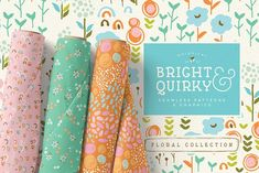Ad: Bright & Quirky Graphics & Patterns by Lisa Glanz on Bright, quirky and fun! Say hello to the colorful floral pattern and graphics collection! Featuring 8 premium seamless patterns, over 50 Graphic Patterns, Graphic Design, Lisa, Floral Border, Vector Pattern, Pattern Designs, Organic Shapes, Clipart, Paper Goods