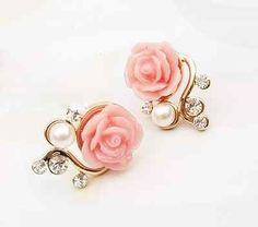 Fashion Girl Lady Women Hot Sweet OL Rose Flower Rhinestone Pearl Ear Stud Earrings White Pink Colors (Pink WHS31-J-1), http://www.amazon.com/dp/B00DS2MB6I/ref=cm_sw_r_pi_awd_0jIgsb1VYE6TF