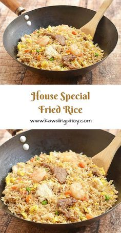 House special fried rice is a popular rice dish consisting of generous portions of shrimps beef and chicken along with the customary scrambled eggs and vegetables; learn the simple technique which turns this hearty one pot meal from good to ultra special! Rice Recipes, Asian Recipes, Chicken Recipes, Dinner Recipes, Cooking Recipes, Healthy Recipes, Chinese Recipes, Cooking Tips, Risotto
