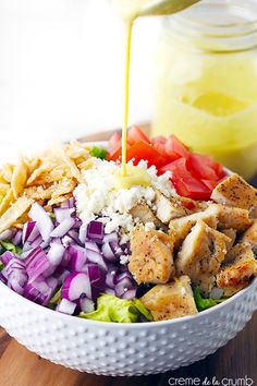 Honey Mustard Chicken Chopped Salad Recipe ~ A quick and delicious chopped salad with seasoned chicken, feta cheese, crispy wonton strips and topped with a (secretly skinny) creamy honey mustard dressing!