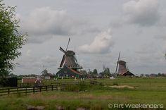 The windmills of the Zaanse Schans http://www.artweekenders.com/amsterdam/zaanse-schans-windmills-dutch-art/ #zaanseschans #amsterdam