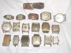 18 Antique Gent's Wrist Watch Lot Parts & Repair A Few are Running Elgin Waltham