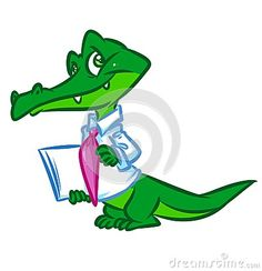 Green crocodile businessman cartoon illustration