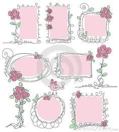 Floral vector doodle frames