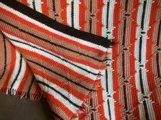 southwestern crocheted afghans | Vintage handmade crocheted Southwestern Afghan $52 | Bedding