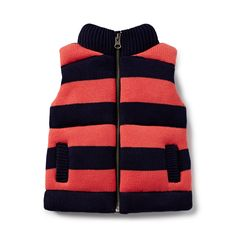 100% Cotton Vest. Knitted, zip up vest in block stripe. Regular fitting silhouette. Available in Retro Red.