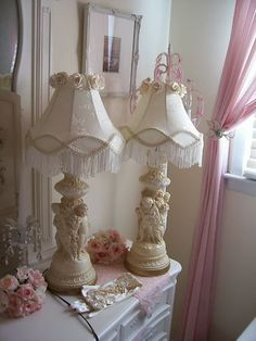 Chippy Cherub Lamps w Rose Fringe Lamp Shades