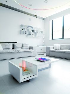 Low coffee table for living room with #fireplace FOCUS by Ozzio Design | #design Giuliano Cappelletti, Studio Ozeta @ozzio