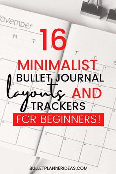 16 Minimalist Bullet Journal Layout Ideas - Today's post, minimalist bullet journal layout ideas, is for those who want to use their bullet journal as a productivity tool above all else. These spreads are super quick to make and easy on the eyes. Click to read more. Bullet Journal For Beginners, January Bullet Journal, Bullet Journal Monthly Spread, Bullet Journal How To Start A, Bullet Journal Themes, Bullet Journal Inspiration, Journal Ideas, Bullet Journals, Minimalist Bullet Journal Layout