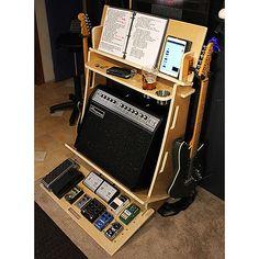 Guitar Storage, Guitar Rack, Guitar Diy, Guitar Display, Guitar Hanger, Guitar Amp Stand, Music Stand, Home Music Rooms, Music Studio Room