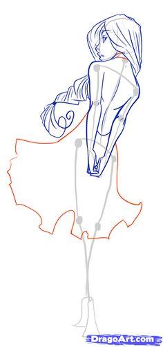 how to draw female figures, draw female bodies step 17