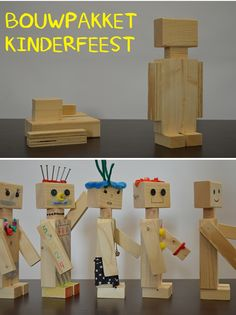 Supergaaf bouwpakket voor een kinderfeestje voor een jongen of een meisje! | Maak je eigen houten robot | Idee van VanStoerHout Wood Projects For Kids, Kids Wood, Diy And Crafts, Crafts For Kids, Robots For Kids, Woodworking For Kids, Wood Toys, Art Plastique, Diy For Kids