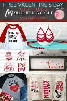 Free SVG Cut Files For Valentine's Day Curated By Ready Set Silhouette day crafts to sell cricut Free SVG Cut Files For Valentine's Day — Ready Set Silhouette Valentines Day Shirts, Valentine Crafts, Valentine Ideas, Free Svg Cut Files, Cricut Creations, Mason Jar Diy, Svg Cuts, Craft Projects, Project Ideas