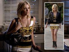 Pretty Little Liars 3x09 Hanna's yellow mini dress, leather jacket and black studded bag on Pretty Little Liars