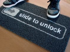 Just how geeky is this? the slide to unlock doormat for iphone lovers comes with the famous inscription inspired by iPhone Slide to Unlock, nothing better to place in front of your geeky office door. If you slide your foot across the doormat, it wi