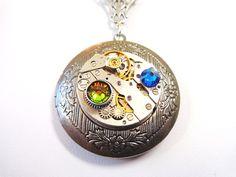 Steampunk Vintage Watch Movement Locket Necklace by Treasurebay, $44.00