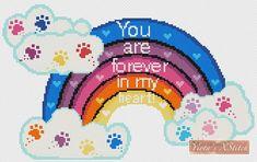 Paw rainbow bridge - dog, cat counted cross stitch kit Cat Cross Stitches, Counted Cross Stitch Kits, Cross Stitch Patterns, Rainbow Bridge Dog, Pet Sympathy Cards, Hardanger Embroidery, Hello Kitty Wallpaper, Bead Loom Patterns, Modern Cross Stitch