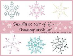 Snowflake set w/Photoshop brushes by Designgirl on @creativemarket