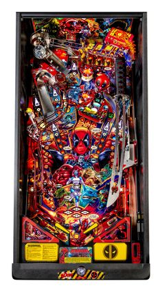 Buy Deadpool Premium Pinball Machine by Stern Online at $7499 Shuriken, Iron Maiden, Metallica, Deadpool, Wheel Dollies, Stern Pinball, Marble Machine, Pinball Wizard, Drawn Art